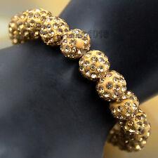 10mm Czech Crystal Rhinestones Pave Clay Round Disco Ball Stretchy Bracelet