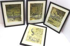 Set 4 Vintage 1960's Outdoor Sportsman Palenske Gold Foil Prints Hunting Fishing