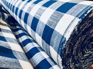 Vichy Lino a Cuadros Lino Tela Material 140cm Ancho Buffalo Azul Cuadrados