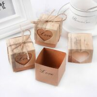 Luxury Rustic Wedding Party Favor Box Heart Candy Cake Gift Crafts Boxes w/ Rope