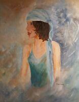 Original Painting Gypsy Portrait Woman Lady Boho Traveler Acrylic Art Crossley