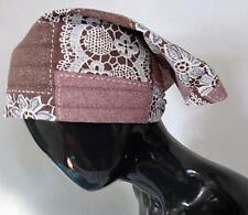 Bufanda de cabeza de playa Vintage Marrón/Rosa/Blanco DEADSTOCK 184 G