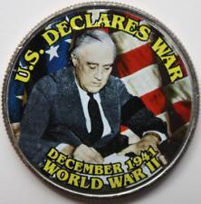 JFK KENNEDY HALF DOLLAR WORLD WAR II - U.S. DECLARES WAR COLORIZED COIN