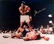 MUHAMMAD ALI AUTOGRAPHED COLOR 16X20 OVER LISTON BOXING PHOTO FULL JSA LETTER