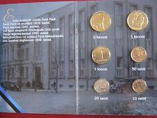 Estonia 1992 - 1998 6 coin set UNC 10 senti - 5 krooni in Esti Bank folder