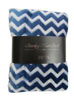 100% Polyester Supersoft Throw Blanket in Blue Chevron Design 150cm x 200cm