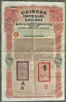 Chinese Imperial Railway Canton Kowloon 100 Pounds Bond