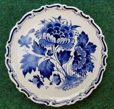 "Vintage De Porceleyne Fles Blue Delft Holland Floral Plaque Plate 4.5"""