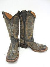 Corral Teen Black Winged Crossed Western Boots Sz2