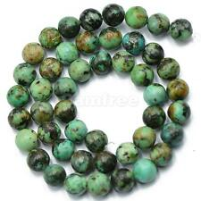 8mm African Turquoise Genuine Round Gemstone Loose Beads Jewelry Making 15""
