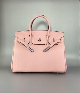 Classic Calfskin Leather Handbag with Silver Tone Hardware