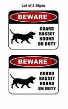 "2 count ""Beware Guard Basset Hound (silhouette) on Duty"" Laminated Dog Sign"