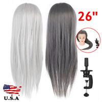 26'' Hair Salon Hairdressing Training Practice Model Mannequin Doll Head + Clamp