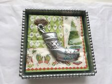NEW! MARIPOSA SILVER BEADED COCKTAIL NAPKIN HOLDER WITH STOCKING WEIGHT&NAPKINS!
