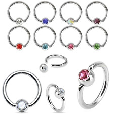 12 PCS WHOLESALE LOT 16G ASSORTED CZ GEM STEEL CAPTIVE BEAD RING NOSE SEPTUM EAR