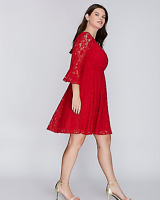 Lane Bryant Red Lace Dress Fit & Flare Flounce Sleeves 14 16 18 20 22 24 26 28