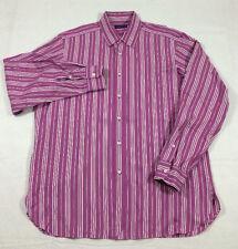 RALPH LAUREN PURPLE LABEL italy STRIPED pink magenta cotton dress SHIRT sz 17 36