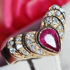 14k yellow gold v shape ring 1.75ct ruby diamond size 6.5 vintage handmade 4.1gr