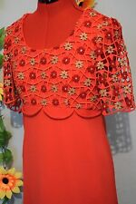 fab vintage 60s 70s Emiliana Wendel red and gold maxi mod prom