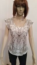 NEW WITH TAG ~ CREAM TOP WITH BROWN PRINTED TOP ~ SIZE 10