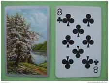 carte à jouer ancienne de collection : arbre fleuri