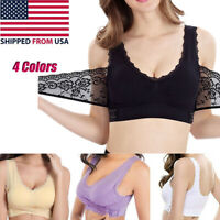 Women Front Cross Side Buckle  Lift Bra Lace Wireles Breathable for Sports Yoga