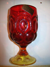 Moon and Stars Heritage Amberini Wine Glass Hand Made By L.E.Smith with Sticker!