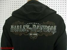 nwt HARLEY DAVIDSON *Willie G Skull* Full Zip Black Hoodie w/Fleece Shirt