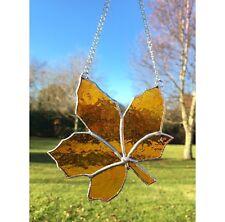 Handmade Stained Glass Leaf Suncatcher Tiffany Glass Technique Orange Glass