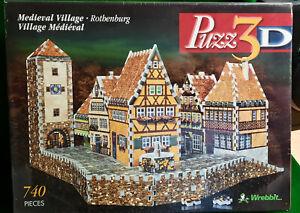 Wrebbit Puzz 3D Medieval Village Rothenburg 740 Pieces - NEW! SEALED!