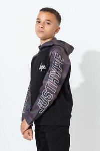 HYPE BOYS 'JUSTHYPE' CAMO SLEEVE LOGO HOODIE BLACK / KHAKI NEW (ref 650) SALE