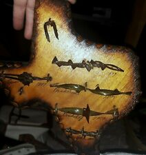 Antique Barbed Wire HANDMADE western Tx art Decor collection disply Estate Find