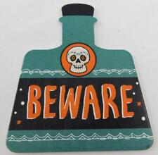 Artminds Halloween Wooden Shape Beware Skull Potion Bottle New