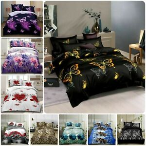 New 4PCs Luxury 3D Complete Bedding Set Duvet Cover Fitted Sheet & 2 Pillowcases