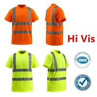 Hi Vis ANSI Class 3 Reflective Safety Work Short Sleeve T Shirts High Visibility