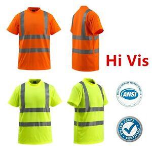 Hi Vis ANSI Class 3 Reflective Safety Work Short Sleeve T Shirts High Visibility