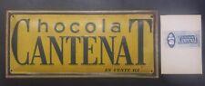 Plaque publicitaire ancienne tôle peinte litho Chocolat CANTENAT Vintage 30's