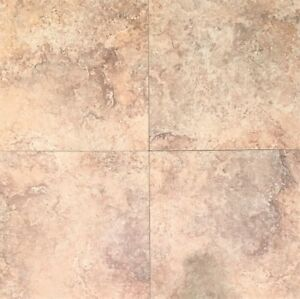18x18 Cross-Cut Walnut Travertine Look Porcelain Field Tile Floor-SOLD PER PIECE