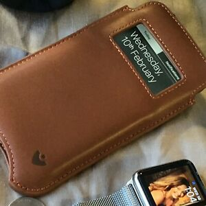 iPhone 13 Pro Max Case TAN Leather NueVue SANITIZING Screen Cleaning Lining