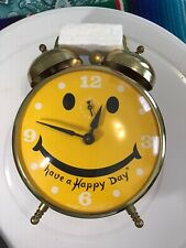 1960's Robert Shaw Lux Windup Have A Happy Day Smiley Face Alarm Clock