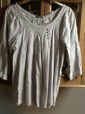 La  Redoute grey 3/4 blouse with pleats UK 10