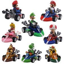 Super Mario Bros Mario Luigi Pricess 12cm Pull Back Racer Kart Car Kids Toys New