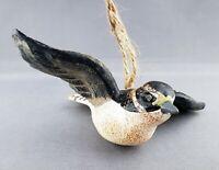 Bird Sparrow Flying Christmas Decorative Ornament Figurine Red Spot Head Black
