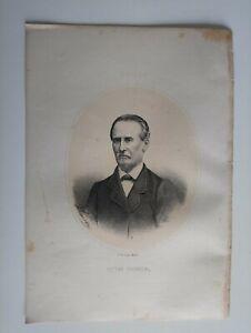 1867 Litografía Retrato Oval: Victor Pruneda, El Ferol-Teruel