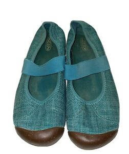 Keen Sienna Mary Jane  Casual Comfort Teal Canvas Slip On Shoes 10M