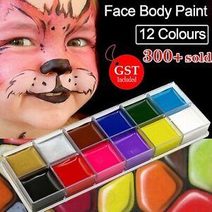 12 Colours Face Body Paint Oil Painting Art Make Up Set Halloween Party Fancy AU