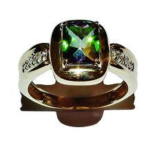Completamente marchiato 14ct ORO GIALLO, Mystic GEM & Diamante Abito Anello-Misure UK: N