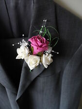 6 Deep Pink & Ivory Rose Corsage Buttonholes Wedding Flowers Artificial