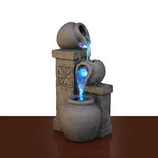 Water Fountain RUSTIC VASE Color Changing Indoor Feature LED Bowls Home Decor