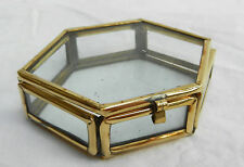 Brass Bound Hexagonal Glass Box - Trinkets, Display, Crafts - BNWT